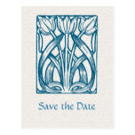 Art Deco Turquoise Tulips Save the Date Postcard