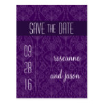 Damask Art Deco Save the Date Postcard
