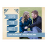 Dusk Blue Trendy Banner Save the Date Postcard