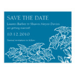 Floral Outlines Save The Date Postcard