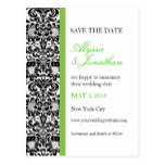 Green Accent Damask Save the Date Card