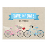 Linen Style Bicycle Wedding Save the Date Postcard