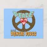 Peace Love Dental Floss Vintage Postcard