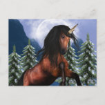 Rearing Chestnut Unicorn Postcard