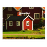 Red Houses in Sweden Postcard
