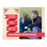 Retro Red Trendy Banner Save the Date Postcard