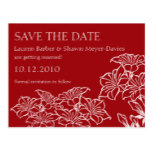 Ruby Floral Outlines Save The Date Postcard