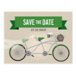 Tandem Green Bicycle Wedding Save the Date Postcard