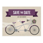 Tandem Plum Bicycle Wedding Save the Date Postcard