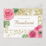 Watercolour Pink Roses and Faux Gold Glitter Postcard